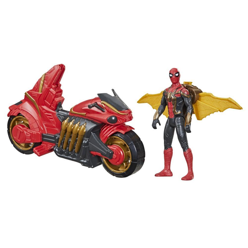 Marvel Spider-Man 6-Inch Jet Web Cycle Vehicle and Action Figure Toy With Wings, Spider-Man Movie-Inspired, For Age 4 and Up