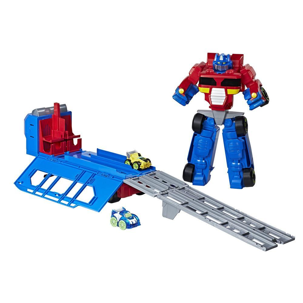 Playskool Heroes Transformers Rescue Bots Flip Racers Optimus Prime Race Track Trailer