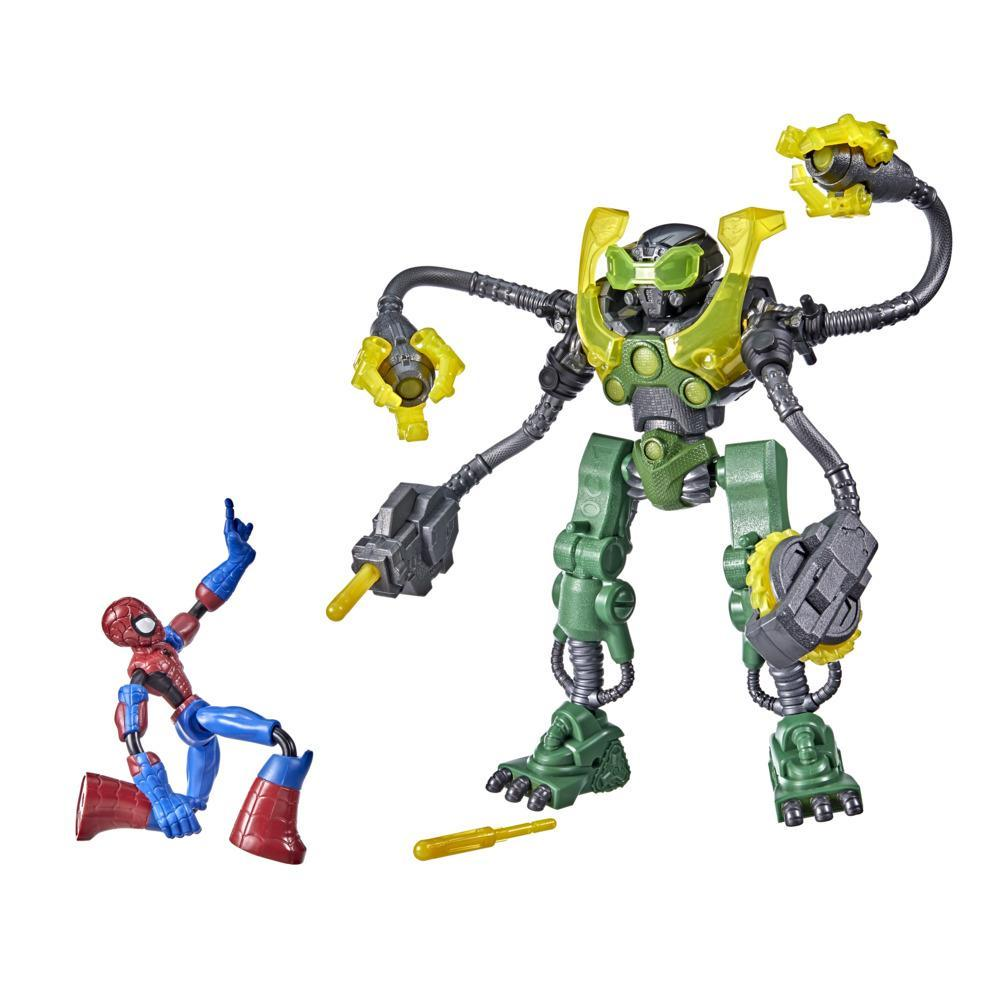 Marvel Spider-Man Bend And Flex Action Spider-Man Vs. Ock-Bot, 6-inch Spider-Man and 10-Inch Ock-Bot, For Ages 4 And Up