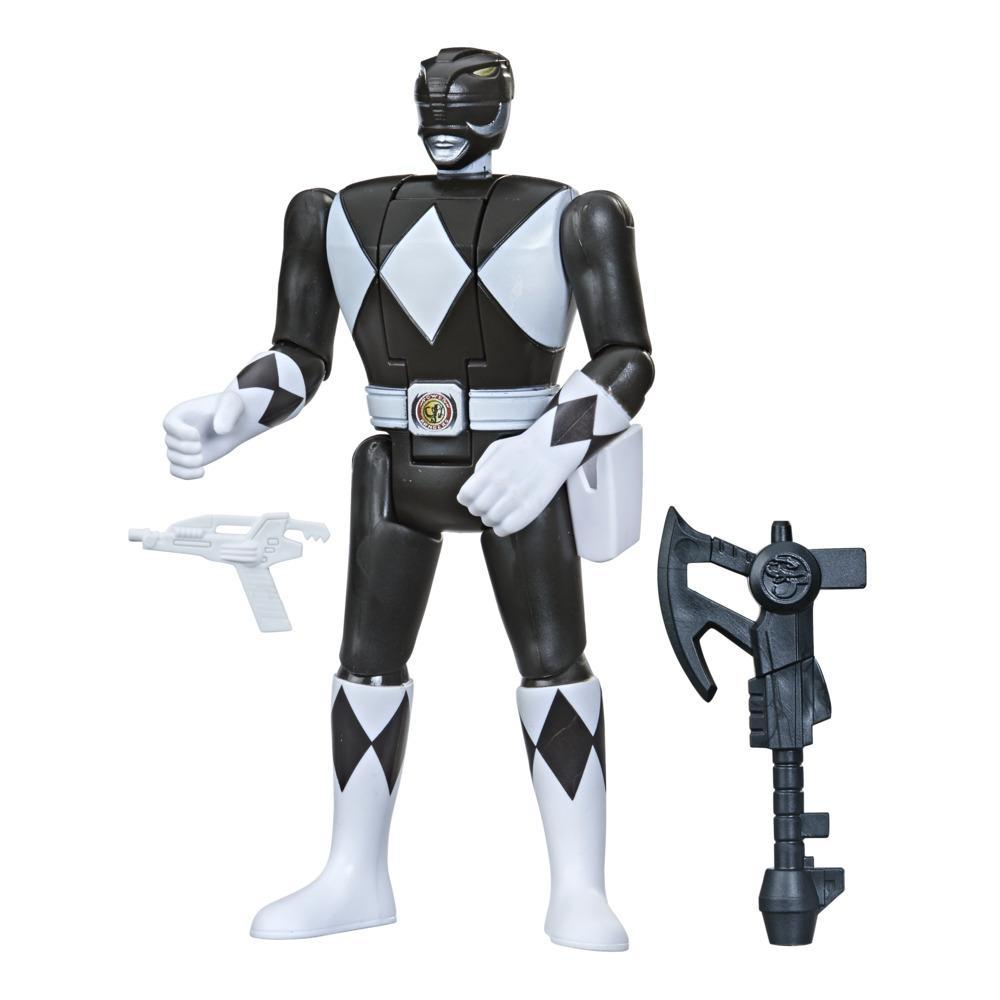 Power Rangers Retro-Morphin Black Ranger Zack Fliphead Action Figure Inspired by Mighty Morphin Toy Kids Ages 4 and Up