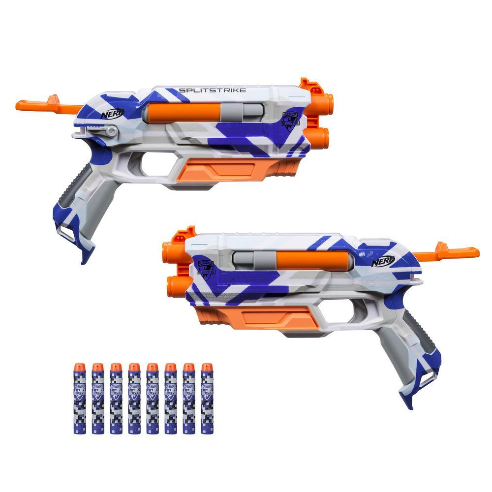 SplitStrike Nerf N-Strike Elite Toy Blaster - BattleCamo Series - 2 Blasters in 1 - Includes 8 Official Nerf Elite Darts - For Kids, Teens, Adults
