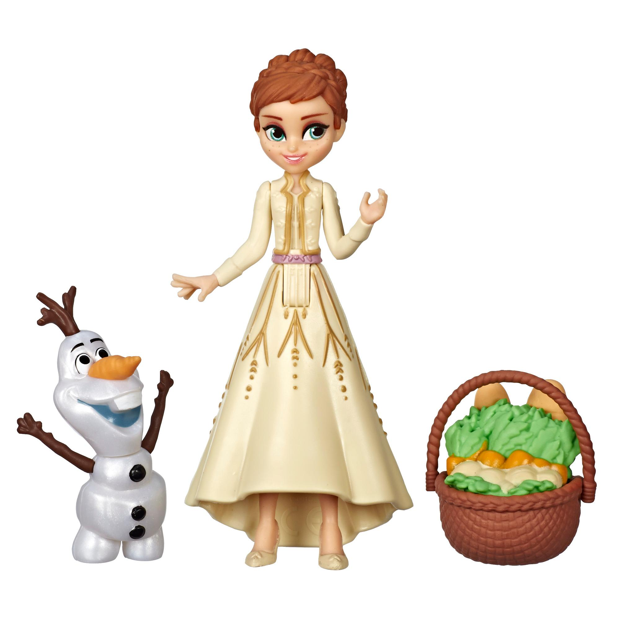 Disney Frozen Anna and Olaf Small Dolls With Basket Accessory, Inspired by the Disney Frozen 2 Movie