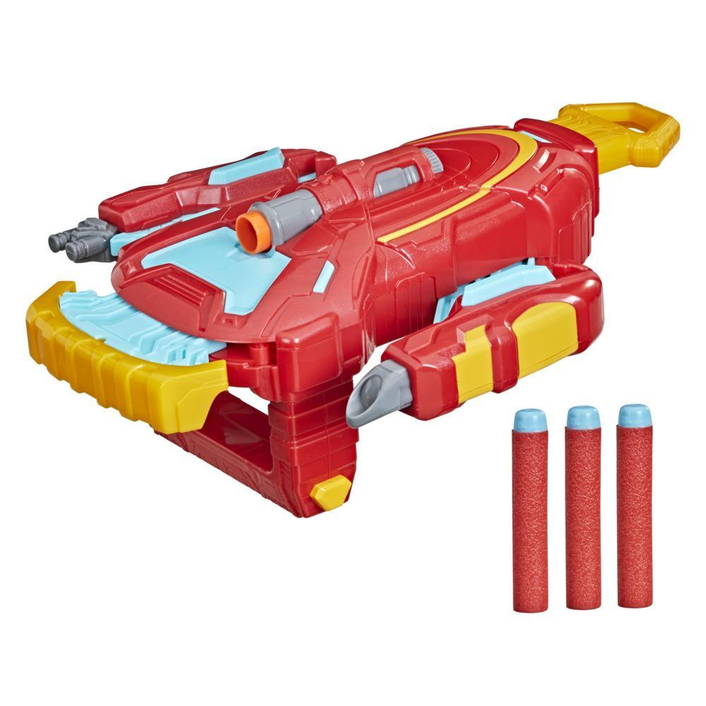Hasbro Marvel Avengers Mech Strike Role Play Iron Man Strikeshot Gauntlet Toy And 3 NERF Projectiles, For Kids Ages 5 and Up