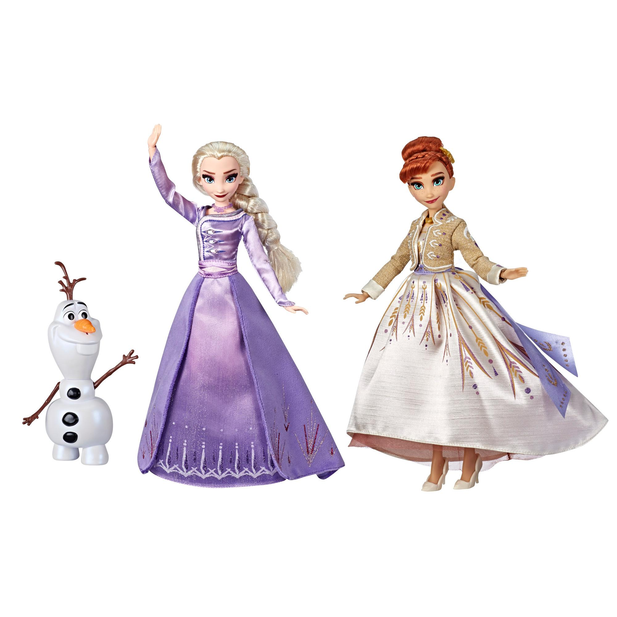 Disney Frozen Elsa, Anna, and Olaf Fashion Doll Set With Dresses and Shoes, Toy Inspired by Disney's Frozen 2