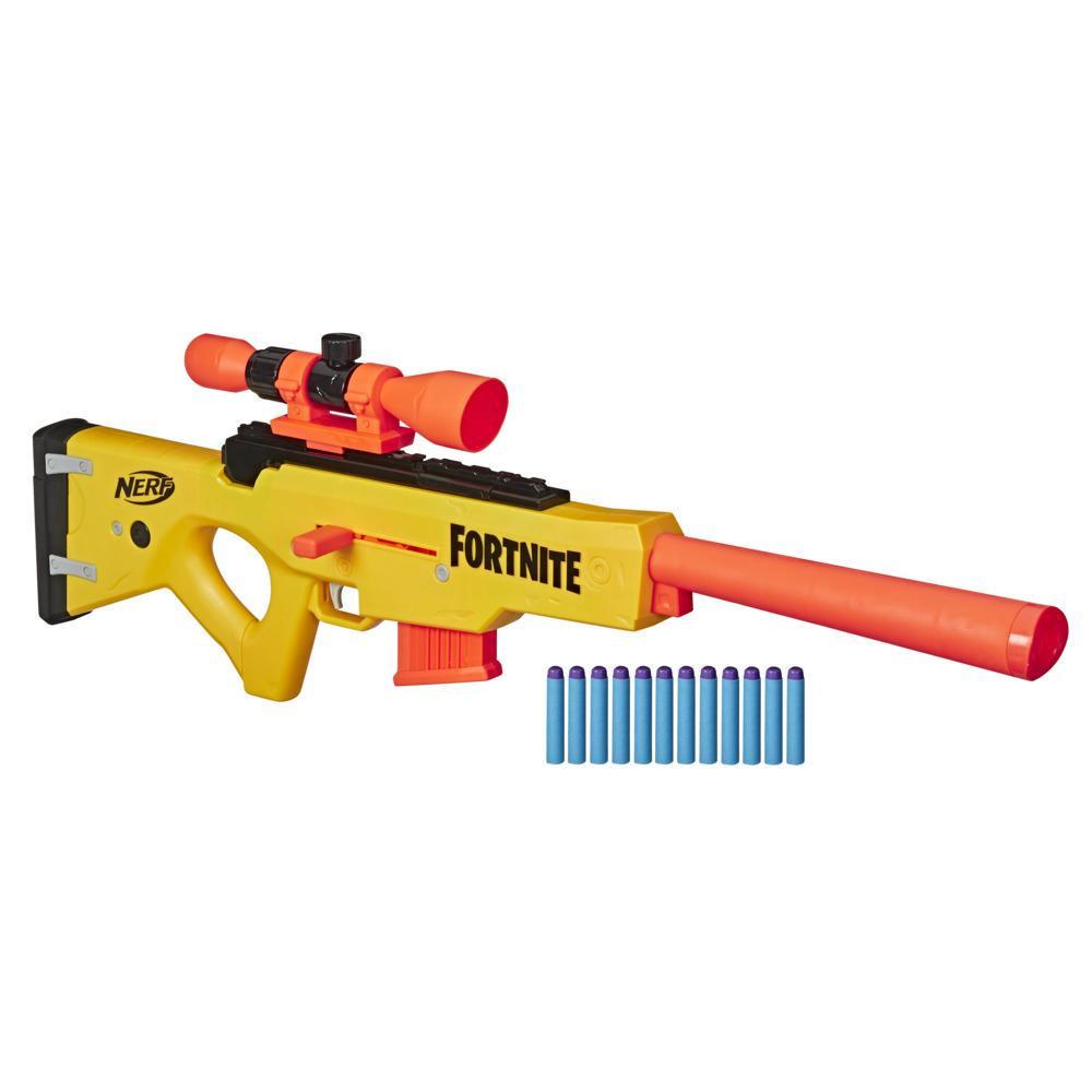 Nerf Fortnite BASR-L Bolt Action, Clip Fed Blaster Includes Removable Scope, 6-Dart Clip, 12 Official Nerf Elite Darts