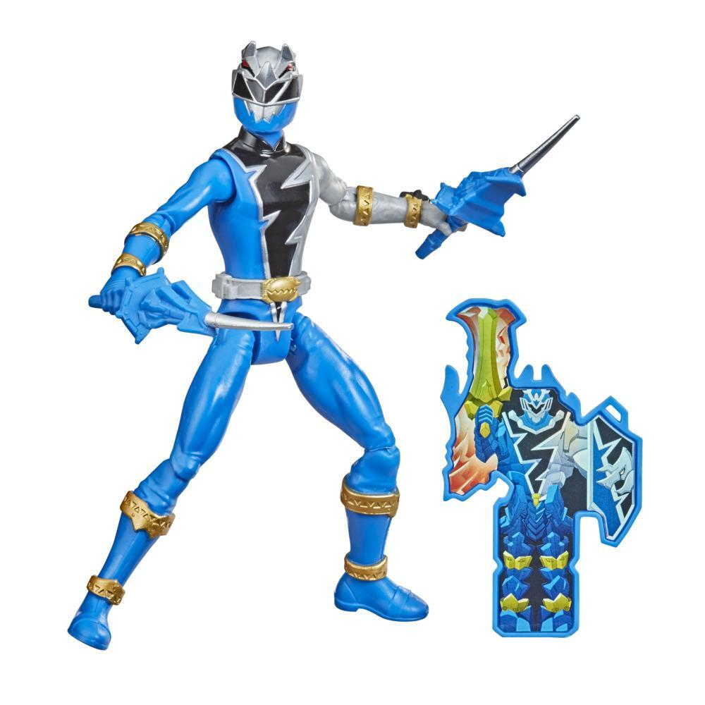 Power Rangers Dino Fury Blue Ranger 6-Inch Action Figure Toy Inspired by TV Show with Dino Fury Key and Weapon Accessories