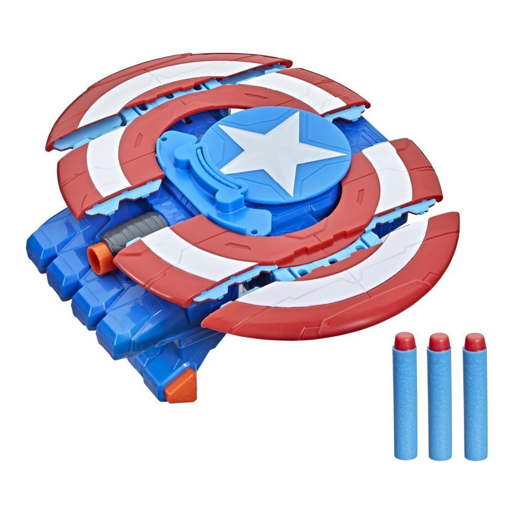 Hasbro Marvel Avengers Mech Strike Captain America Strikeshot Shield Role Play Toy, With 3 NERF Darts, Age 5 And Up