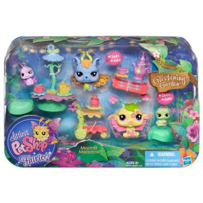 LITTLEST PET SHOP FAIRIES GLISTENING GARDEN MOONLIT MEADOW Playset