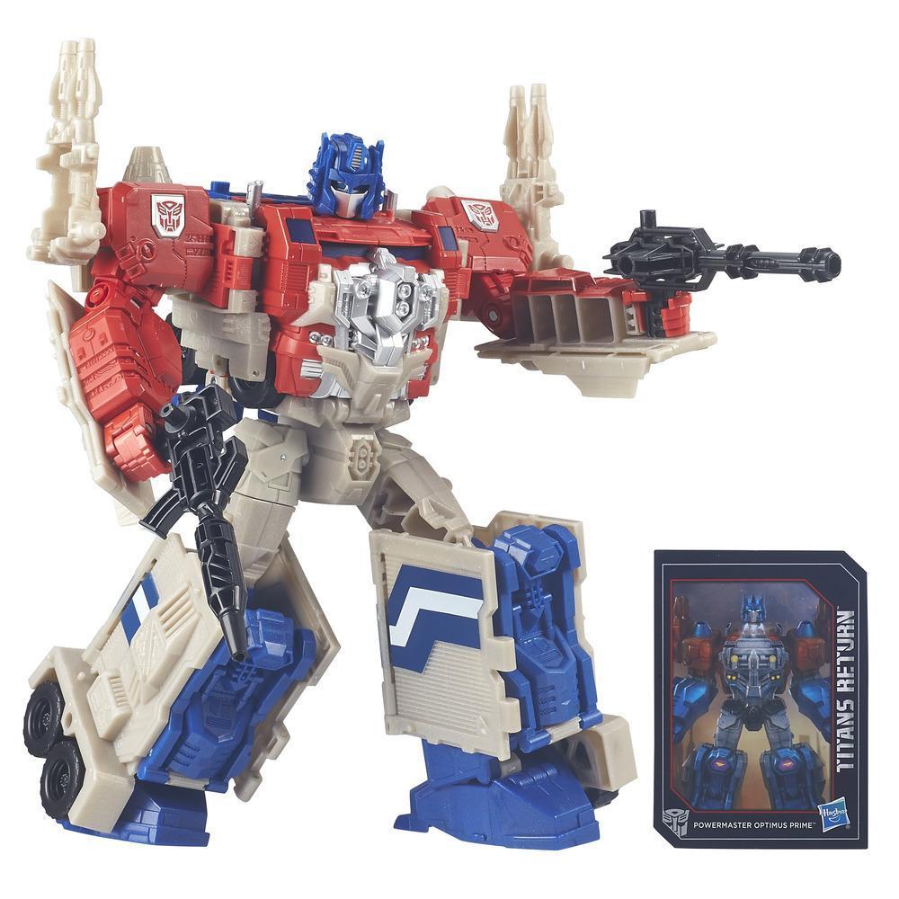 Transformers Generations Titans Return Leader Class Powermaster Optimus Prime and Autobot Apex