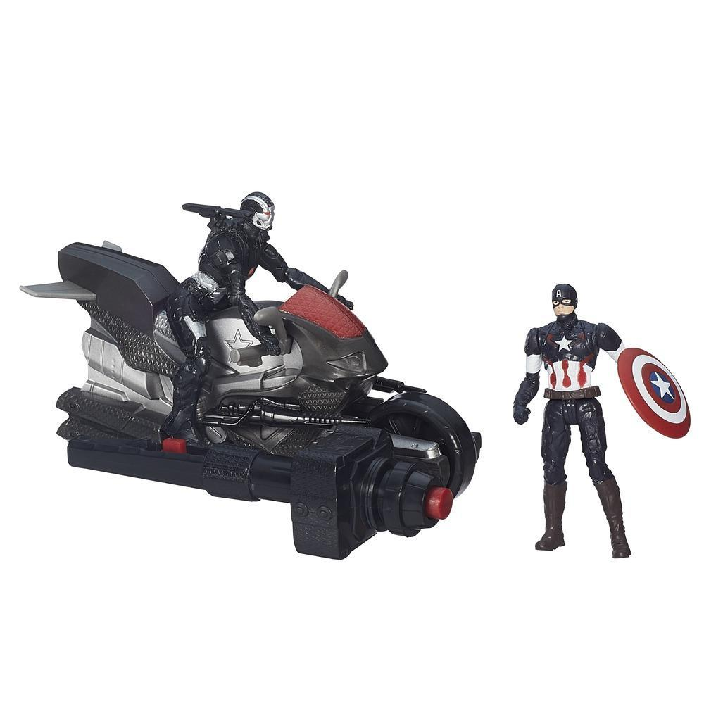 Marvel Avengers Age of Ultron Captain America and Marvel's War Machine Figures with Blast Cycle