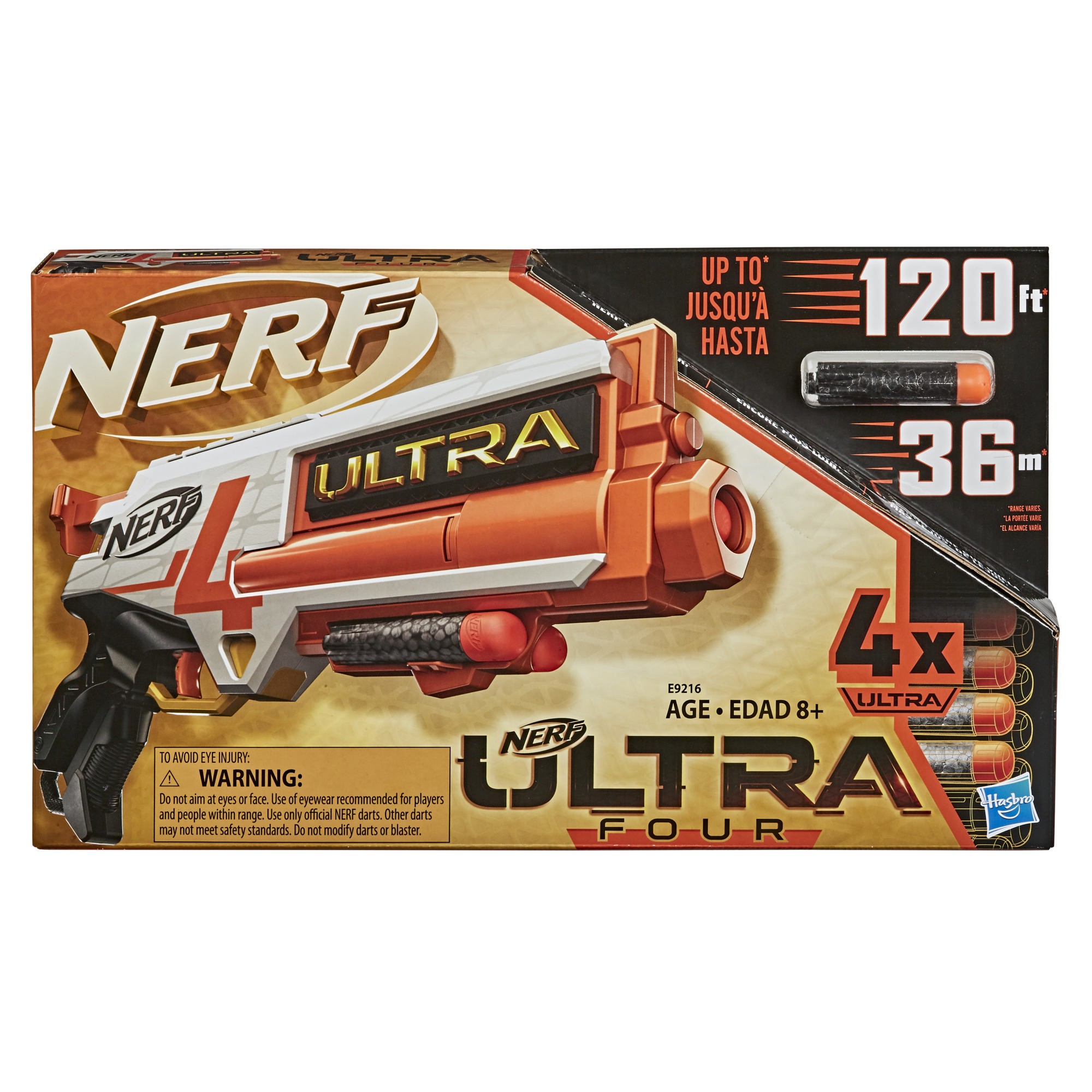 Nerf Ultra Four Dart Blaster -- 4 Nerf Ultra Darts, Single-Shot Blasting, Compatible Only with Nerf Ultra Darts