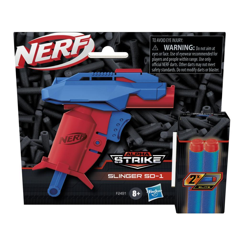 Nerf Alpha Strike Slinger SD-1 Single-Fire Dart Blaster and 2 Official Nerf Elite Foam Darts -- Easy Load Prime Fire