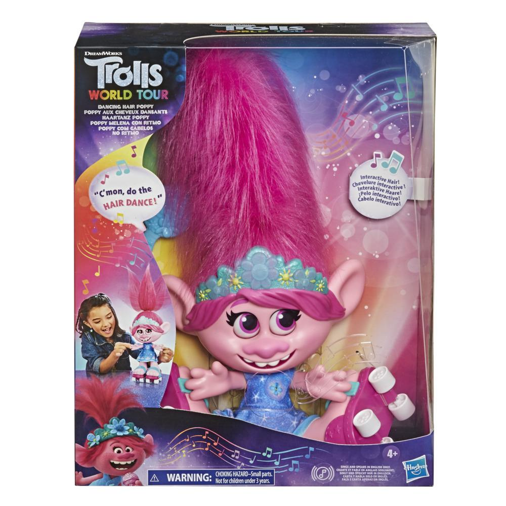 DreamWorks Trolls World Tour Dancing Hair Poppy Interactive Talking Singing Doll with Moving Hair Toy, Kids 4 and Up