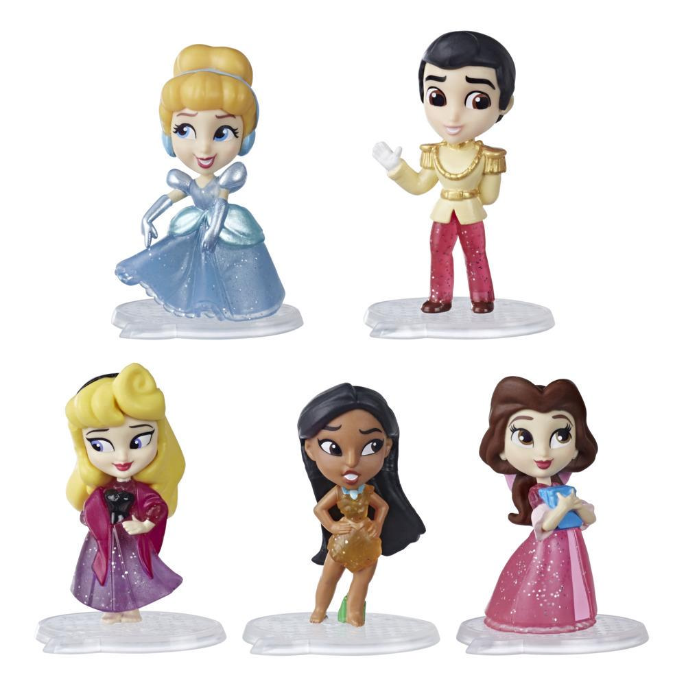 Disney Princess Comics Doll Toy, Glitter Pack with Cinderella, Prince Charming, Belle, Aurora, and Pocahontas, 5 Dolls