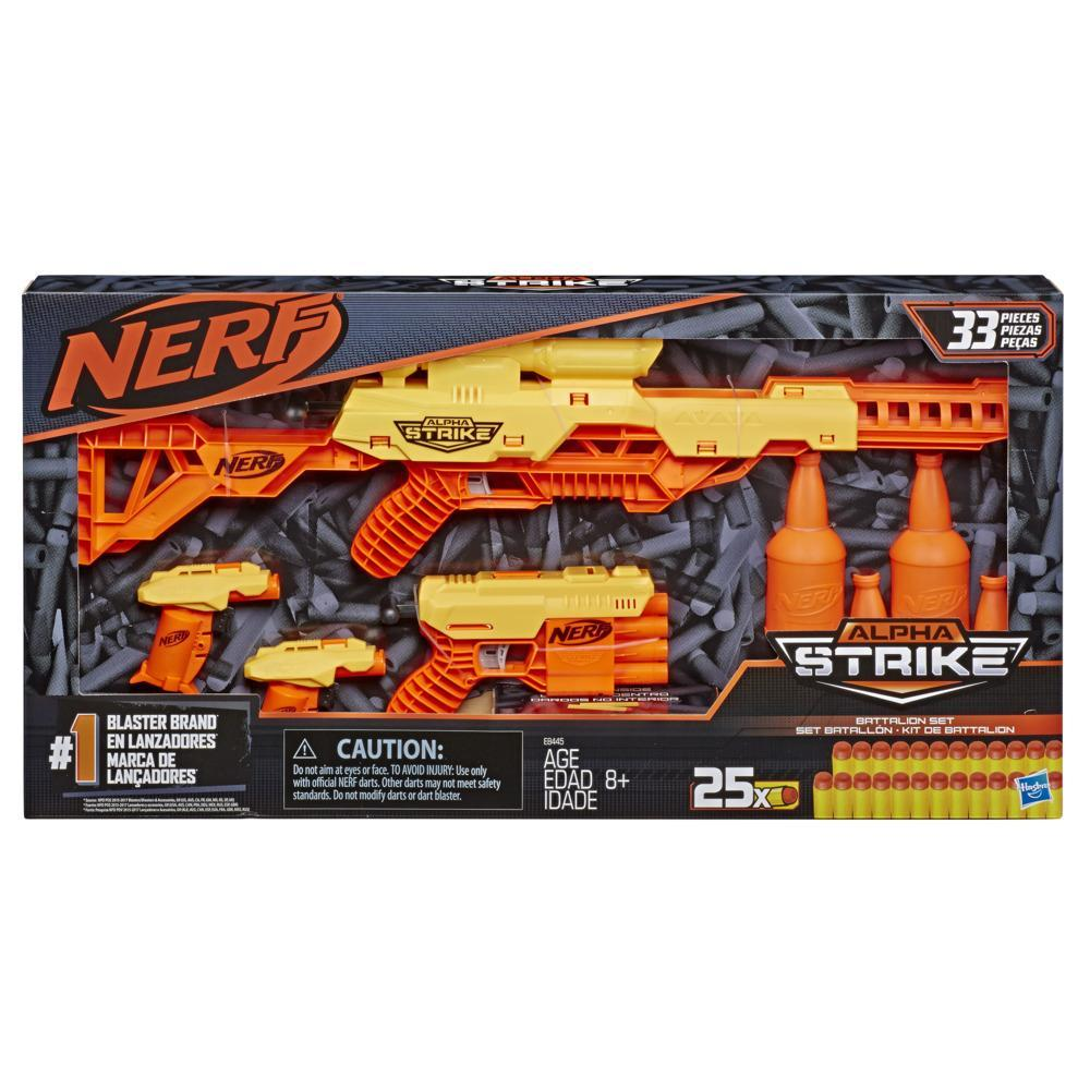 Nerf Alpha Strike Battalion Set -- 33-Pieces -- 4 Blasters, 4 Half-Targets, and 25 Official Nerf Elite