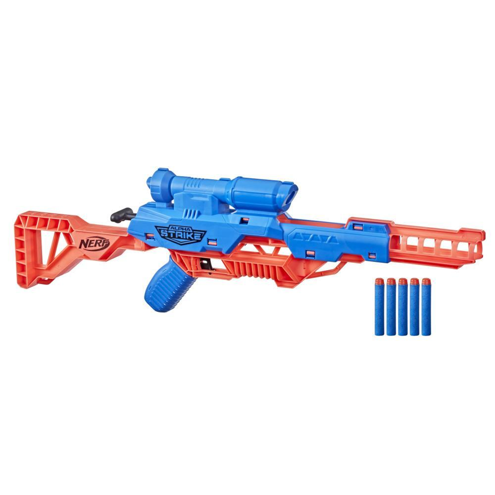 Nerf Alpha Strike Mantis LR-1 Dart Blaster with Targeting Scope, 5 Nerf Elite Foam Darts -- Easy Load Prime Fire