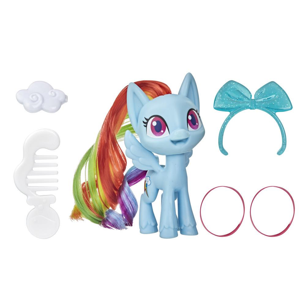 My Little Pony Rainbow Dash Potion Pony Figure -- 3-Inch Blue Pony Toy with Brushable Hair, Comb, and Accessories