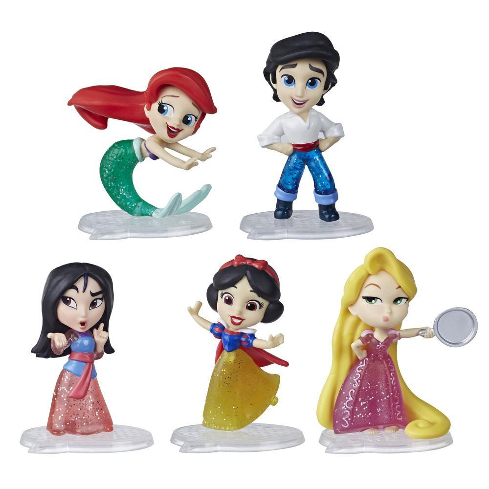Disney Princess Comics Doll Toy, Glitter Pack with Ariel, Eric, Mulan, Rapunzel, and Snow White, 5 Dolls