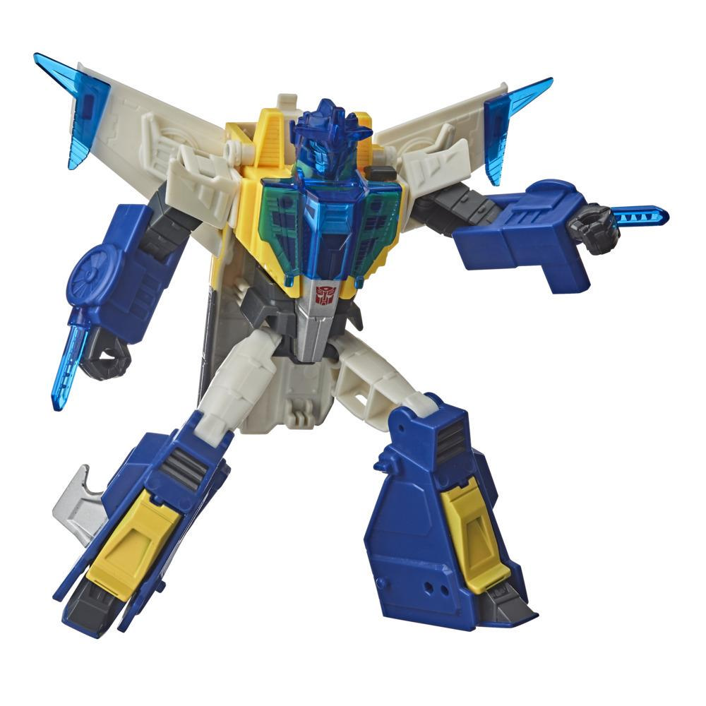 Transformers Meteorfire Cyberverse Adventures Battle Call Trooper Class Meteorfire Action Figure, Voice Activated Energon Power Lights
