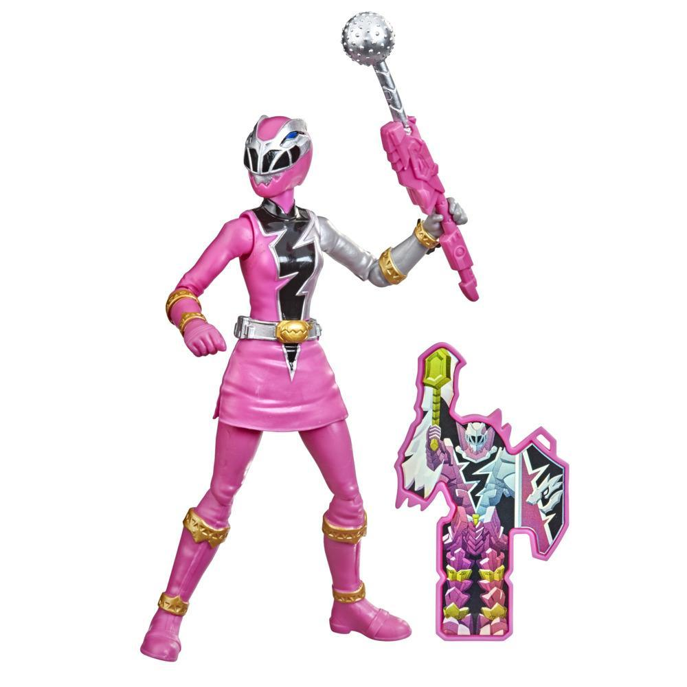 Power Rangers Dino Fury Pink Ranger 6-Inch Action Figure Toy Inspired by TV Show with Dino Fury Key and Weapon Accessory