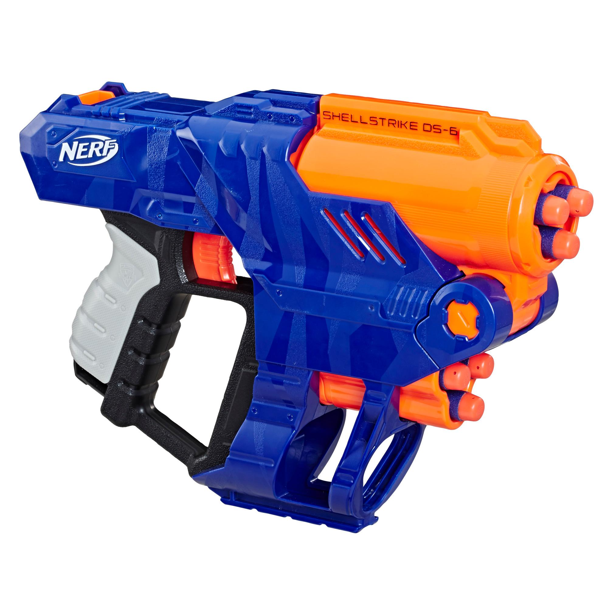 Nerf Elite Shellstrike DS-6 Blaster - Fires 3 Darts From Shells -- Includes 3 Shells and 6 Official Nerf Elite Darts