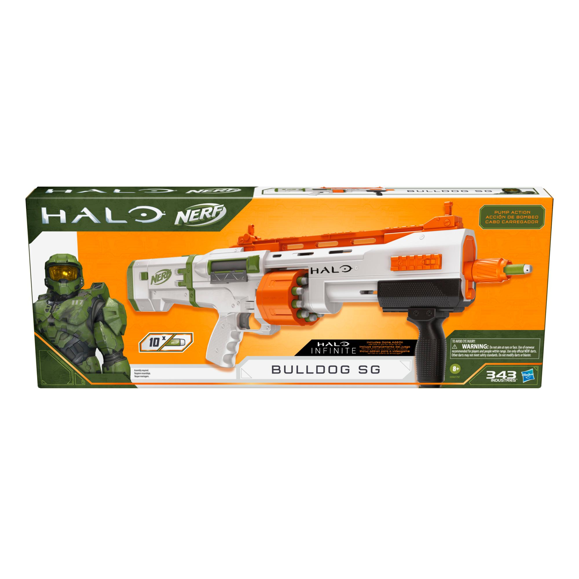 Nerf Halo Bulldog SG Dart Blaster -- Pump-Action, Rotating 10-Dart Drum, Tactical Rails, 10 Nerf Darts, Skin Unlock Code