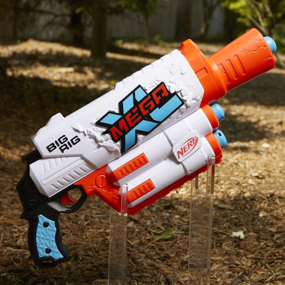 Nerf Mega XL Big Rig Blaster, Largest Nerf Mega Darts Ever, 3 Nerf Mega XL Whistler Darts, XL Dart Blasting, Dart Storage