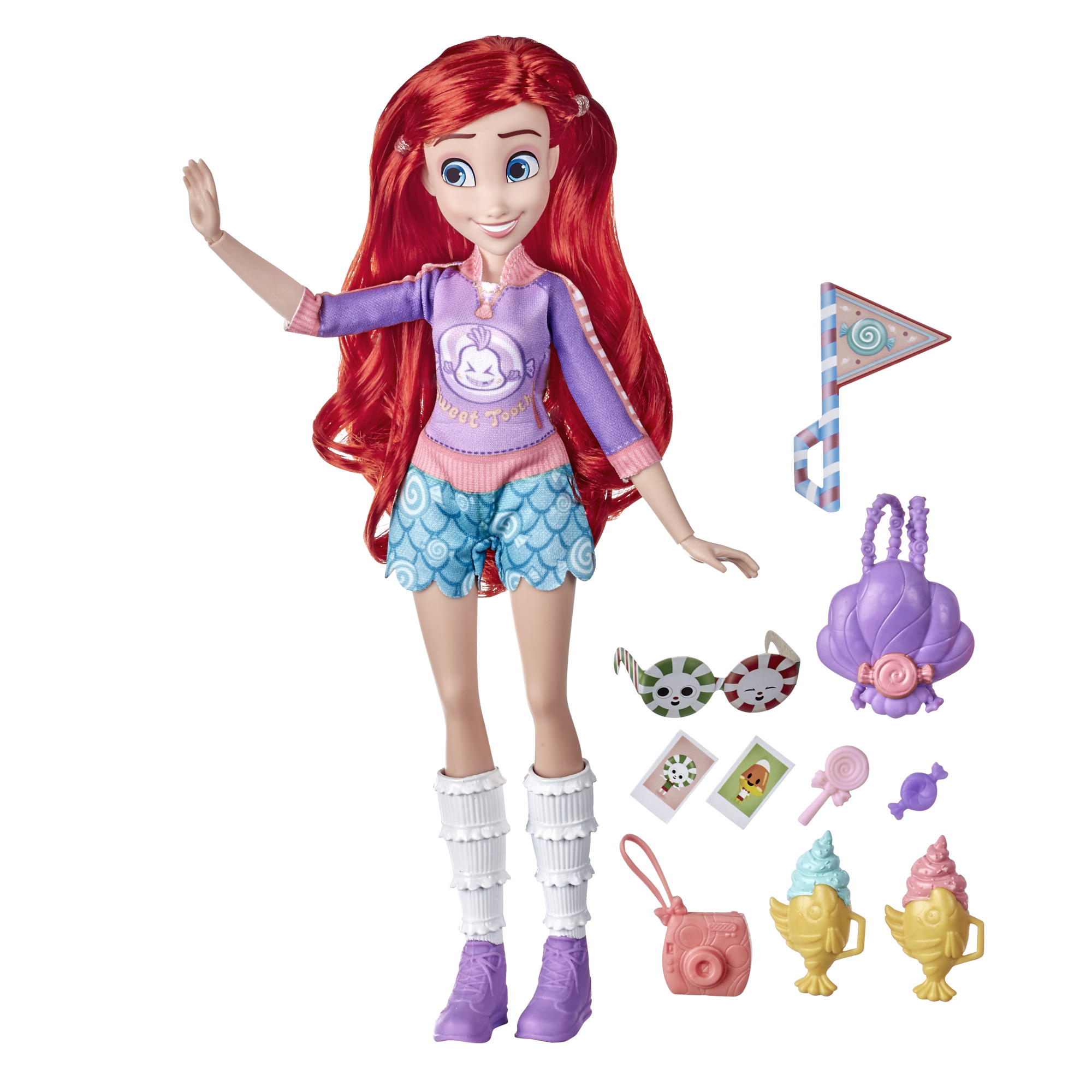 Disney Princess Comfy Squad Sugar Style Ariel Fashion Doll with Outfit and Accessories, Toy for Girls 5 Years and Up