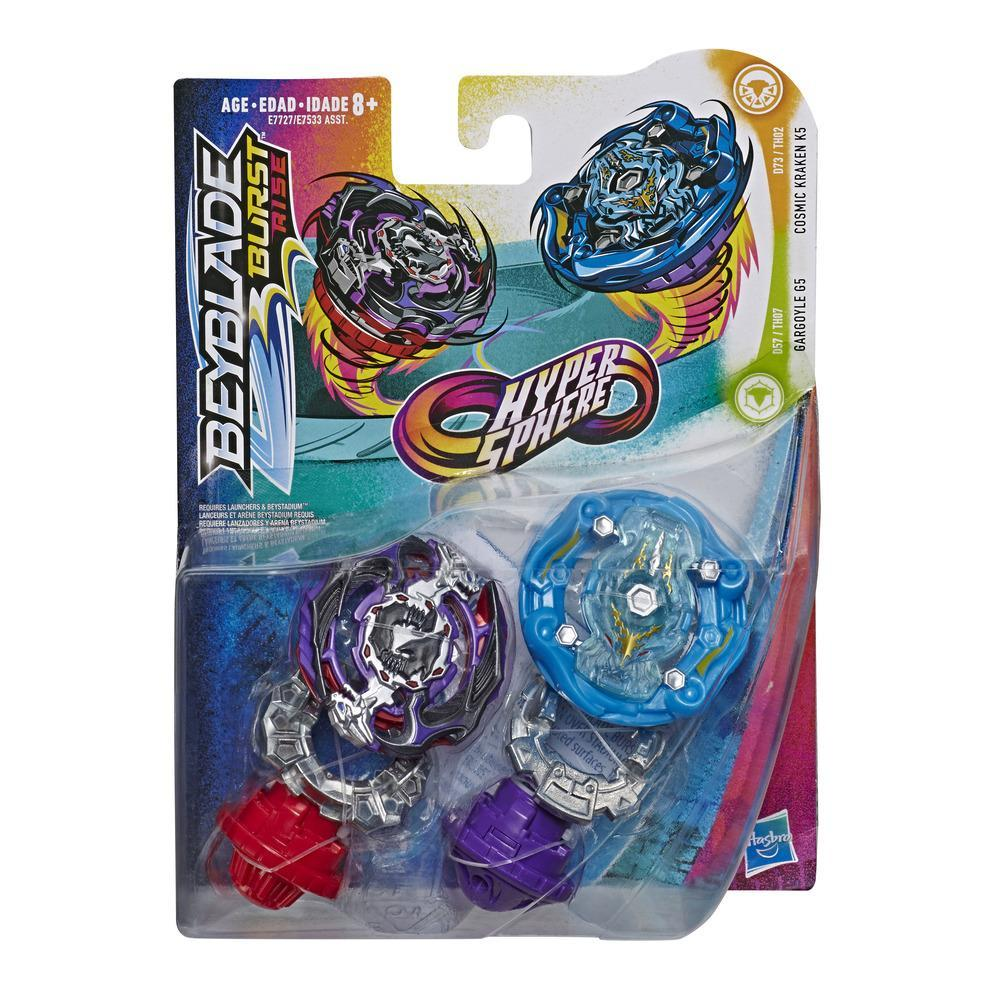 Beyblade Burst Rise Hypersphere Dual Pack Cosmic Kraken K5 and Gargoyle G5 -- 2 Right-Spin Battling Top Toys