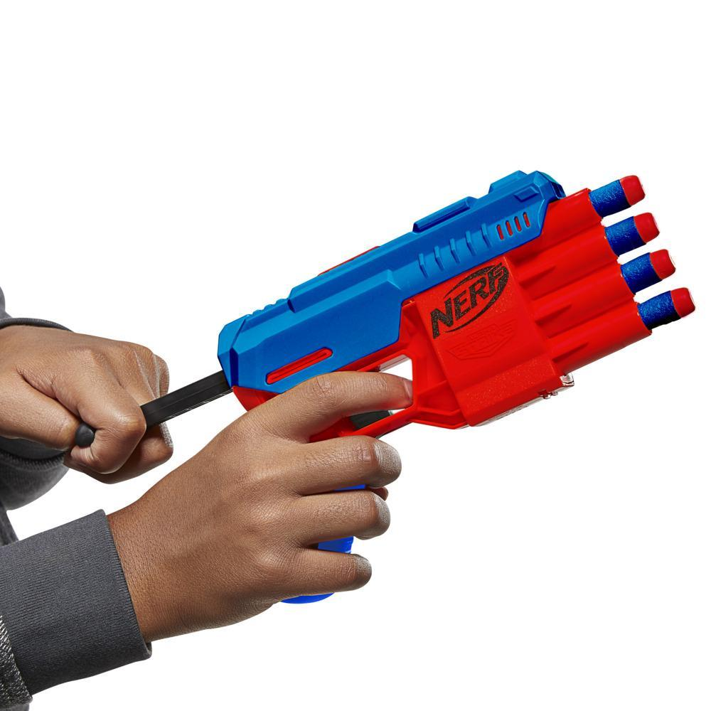 Nerf Alpha Strike Claw QS-4 Blaster and 4 Official Nerf Elite Foam Darts -- 4-Dart Blasting -- Easy Load-Prime-Fire