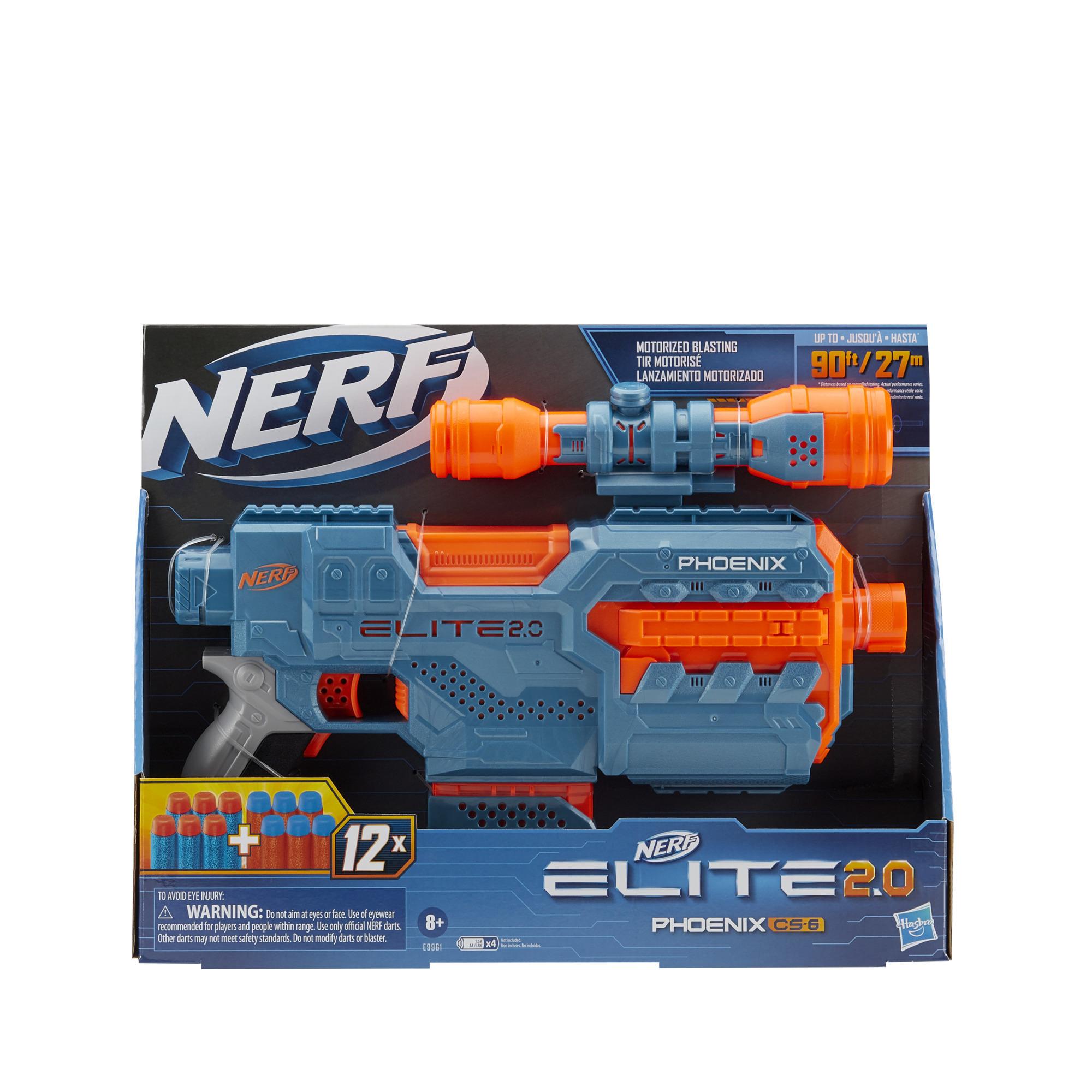 Nerf Elite 2.0 Phoenix CS-6 Motorized Blaster, 12 Official Nerf Darts, Scope, Clip, Built-In Customizing Capabilities
