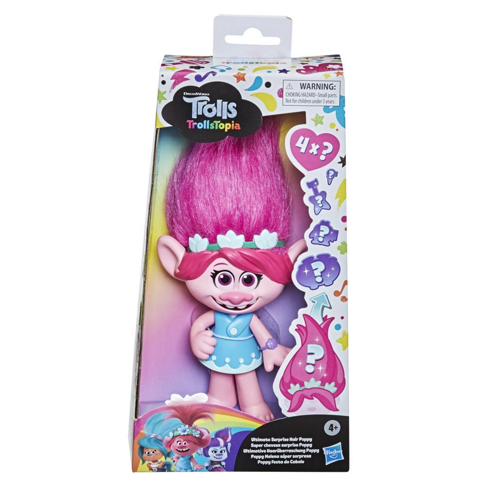 DreamWorks TrollsTopia Ultimate Surprise Hair Poppy Doll, Toy with 4 Hidden Surprises in Hair, For Kids 4 and Up