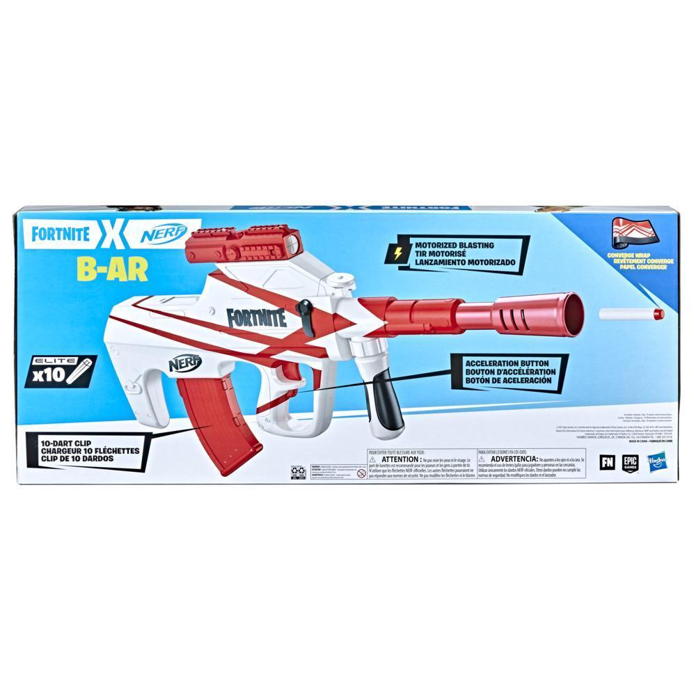 Nerf Fortnite B-AR Motorized Dart Blaster -- Fortnite Converge Wrap, 10-Dart Blasting, 10-Dart Clip, 10 Nerf Darts