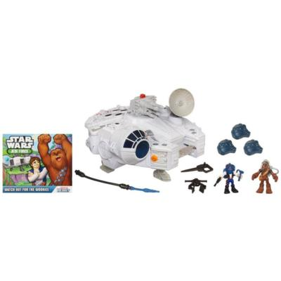 PLAYSKOOL HEROES STAR WARS JEDI FORCE Millennium Falcon with HAN SOLO & CHEWBACCA