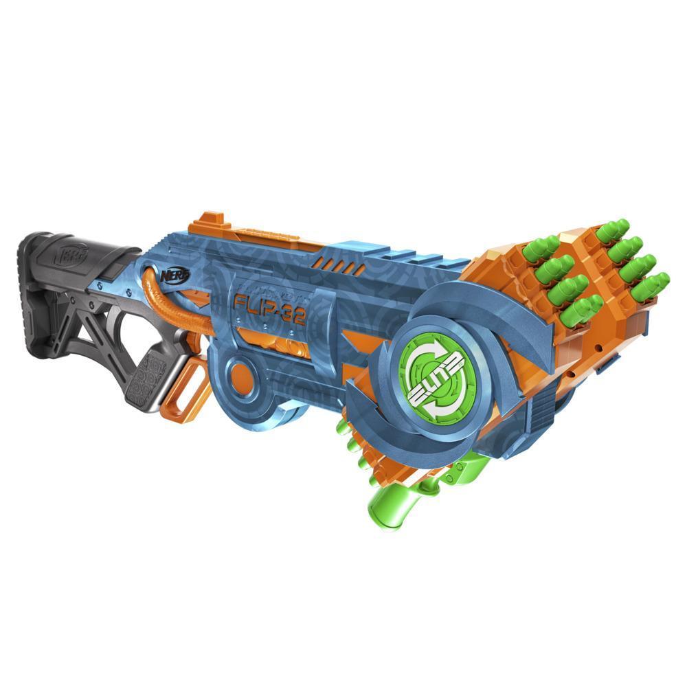 Nerf Elite 2.0 Flipshots Flip-32 Blaster, 32 Dart Barrels Flip to Double Your Firepower, 32-Dart Capacity, 32 Nerf Darts