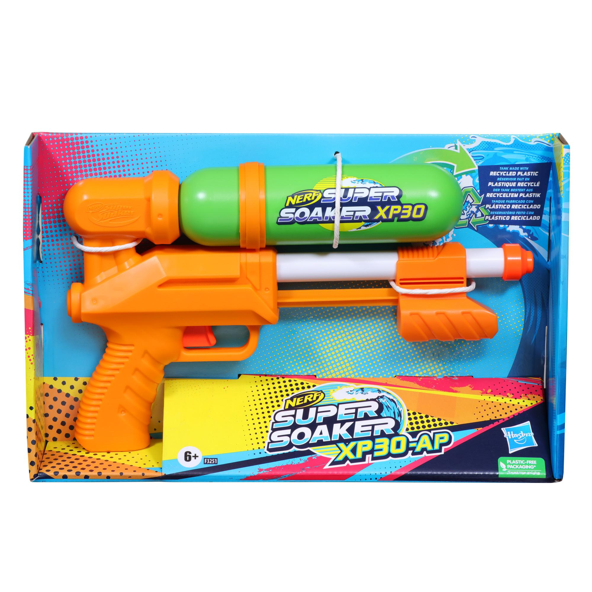 Nerf Super Soaker XP30-AP Water Blaster, Tank Made With Recycled Plastic, Air-Pressurized Continuous Water Blast