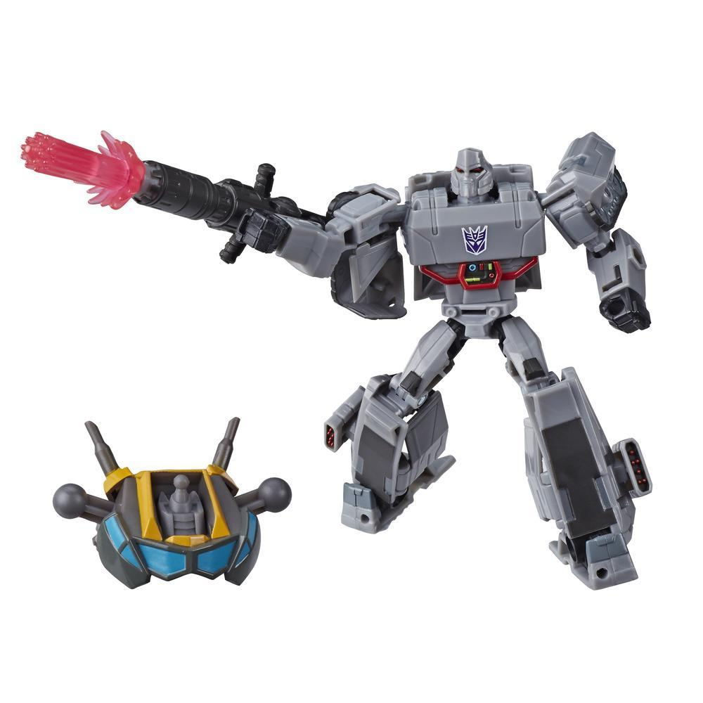 Transformers Toys Cyberverse Deluxe Class Megatron Action Figure, Fusion Mega Shot Attack Move, Build-A-Figure Piece, 5-inch