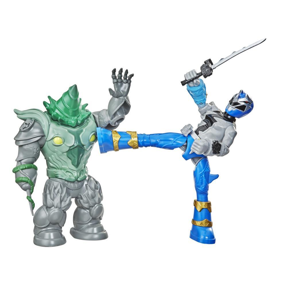 Power Rangers Dino Fury Battle Attackers 2-Pack Blue Ranger vs. Shockhorn Kicking Action Figure Toys For Ages 4 and Up