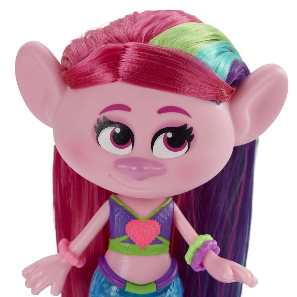 DreamWorks TrollsTopia Techno Mermaid Poppy Doll, Lights Up In or Out of Water, Toy for Kids 4 Years Old and Up
