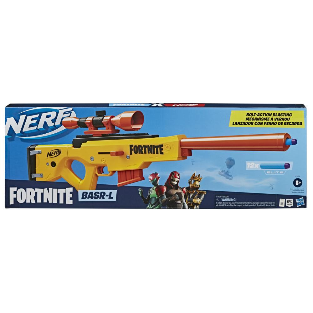 Nerf Fortnite BASR-L Bolt Action, Clip Fed Blaster Includes Removable Scope, 6-Dart Clip, 12 Official Nerf Elite Darts