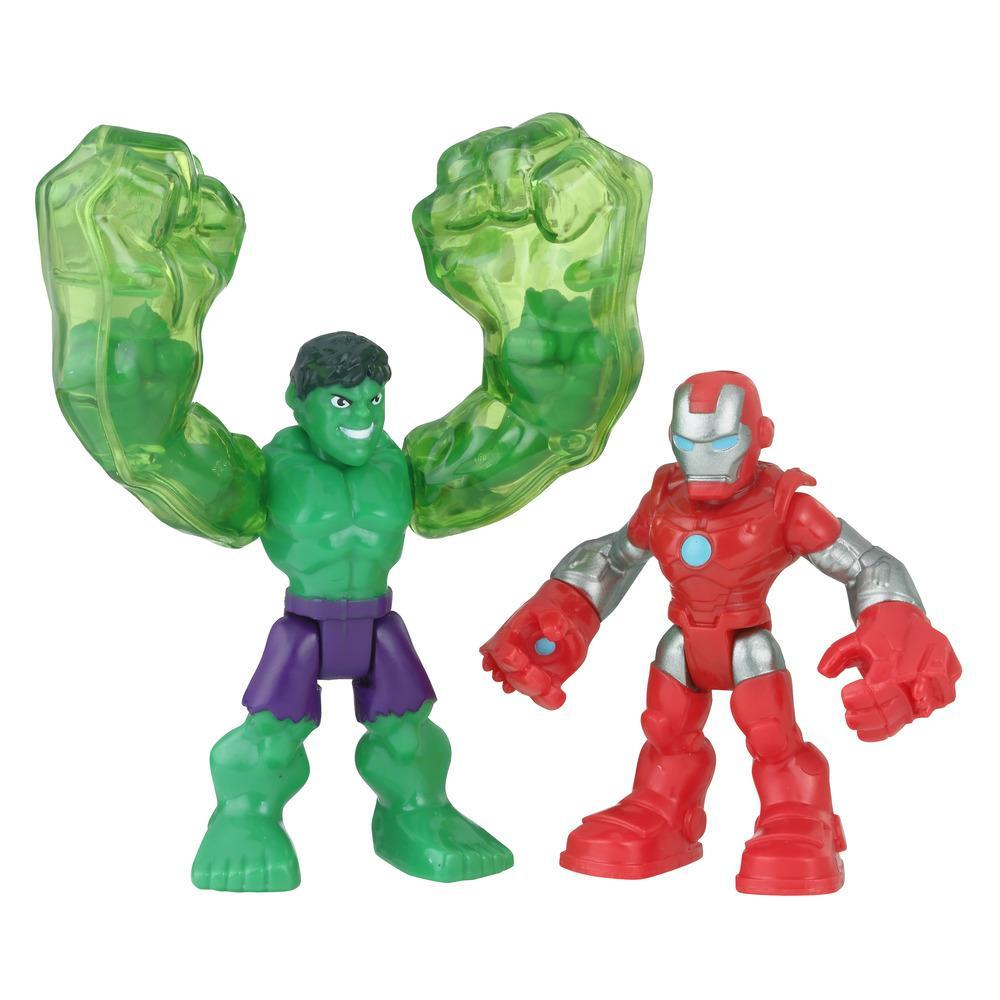 Playskool Heroes Marvel Super Hero Adventures 2-Pack, Collectible 2.5-Inch Hulk and Iron Man Action Figures