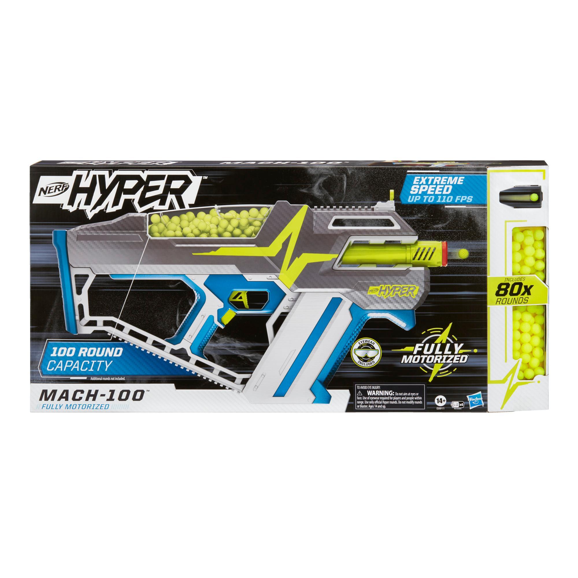 Nerf Hyper Mach-100 Fully Motorized Blaster and 80 Nerf Hyper Rounds, 110 FPS Velocity, Easy Reload, 100-Round Capacity