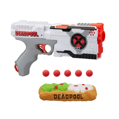 Deadpool Nerf Rival Blaster -- Kronos XVIII-500 with Deadpool X-Force Deco, Foam Chimichanga, 5 Nerf Rival Rounds
