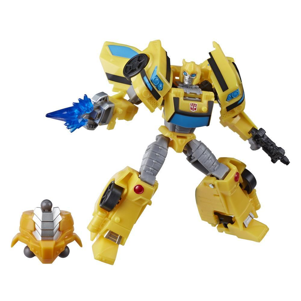 Transformers Toys Cyberverse Deluxe Class Bumblebee Action Figure, Sting Shot Attack Move, Build-A-Figure Piece, 5-inch
