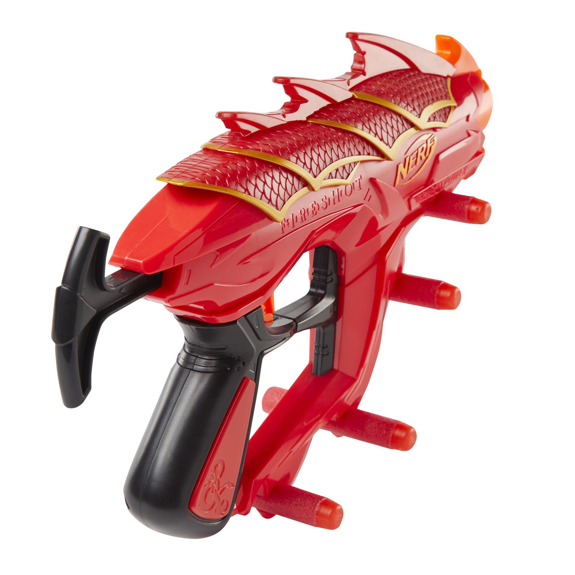 Nerf DragonPower Fireshot Dart Blaster, Inspired by Dungeons and Dragons, 5 Nerf Darts, 4-Dart Storage, Priming Handle
