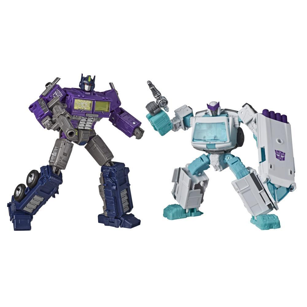 Transformers Generations Selects WFC-GS17 Shattered Glass Ratchet and Optimus Prime, War for Cybertron Collector Figures