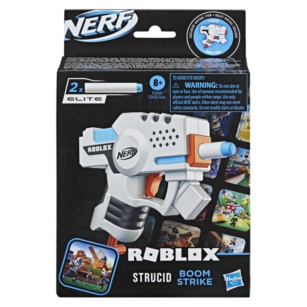 Nerf Roblox Strucid: Boom Strike Dart Blaster, Priming Handle, 2 Nerf Elite Darts, Code To Unlock In-Game Virtual Item