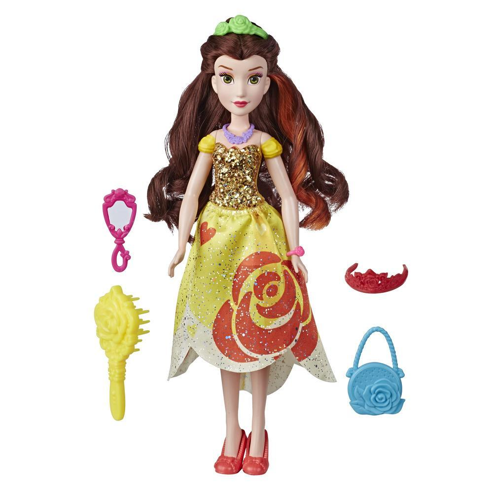 Disney Princess Be Bright, Be Bold Belle Fashion Doll Toy, Bold Graphic Dress Design with Brush and Hair Accessories