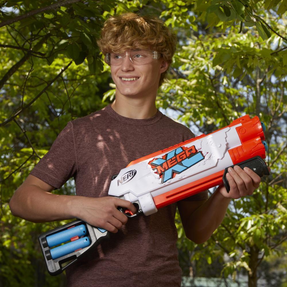 Nerf Mega XL Double Crusher Blaster, Largest Nerf Mega Darts Ever, 4 Nerf Mega XL Whistler Darts, Onboard Dart Storage