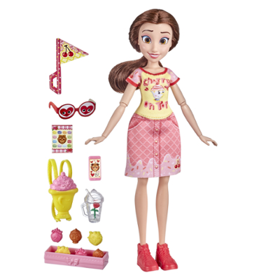 Disney Princess Comfy Squad Sugar Style Belle Fashion Doll with Outfit and Accessories, Toy for Girls 5 Years and Up